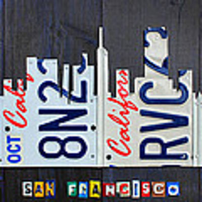 San Francisco California Skyline License Plate Art Art Print