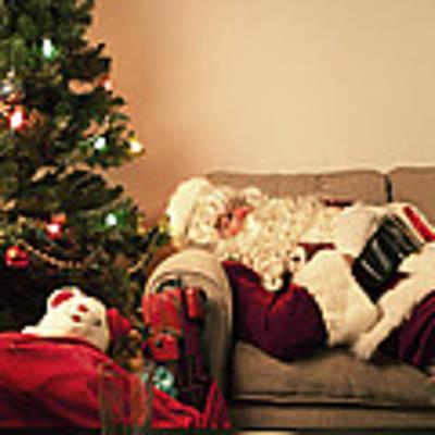 Santa Takes A Nap Art Print