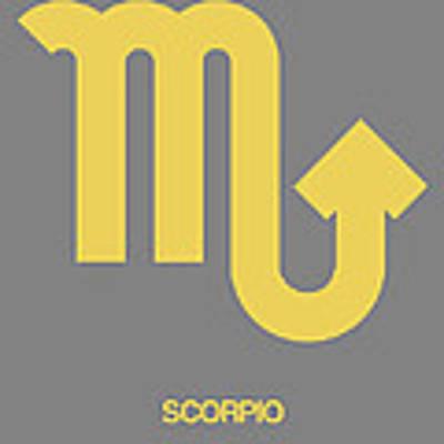Scorpio Zodiac Sign Yellow On Grey Art Print