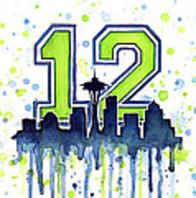 Seattle Seahawks 12th Man Art Original by Olga Shvartsur