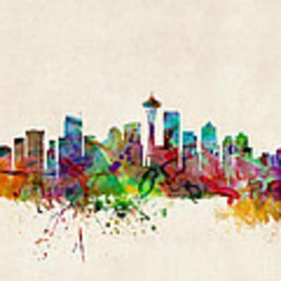Seattle Washington Skyline Art Print by Michael Tompsett