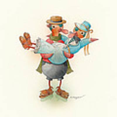 Skating Ducks 13 Original by Kestutis Kasparavicius