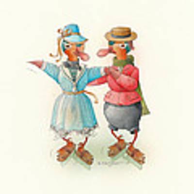 Skating Ducks 14 Original by Kestutis Kasparavicius