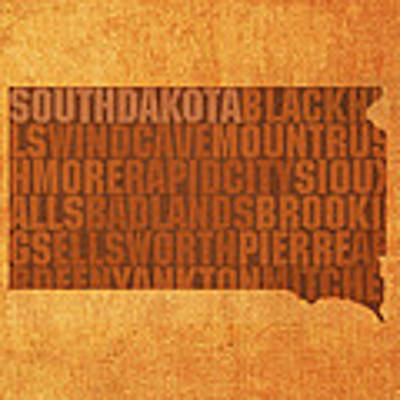 South Dakota Word Art State Map On Canvas Art Print