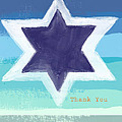 Star Of David In Blue - Thank You Card Art Print by Linda Woods