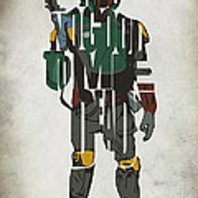 Star Wars Inspired Boba Fett Typography Artwork Art Print