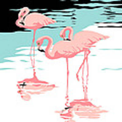 Three Pink Flamingos Tropical Landscape Abstract - Square Format Original by Walt Curlee