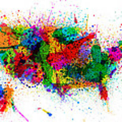 United States Paint Splashes Map Art Print by Michael Tompsett