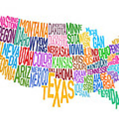 United States Text Map Art Print by Michael Tompsett