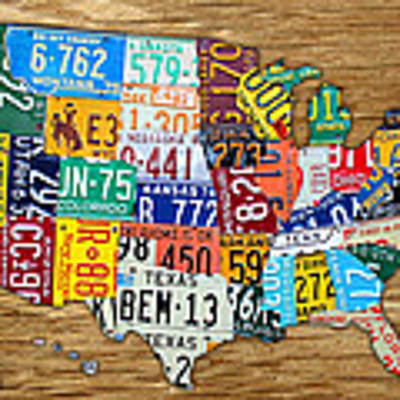 Usa License Plate Map Car Number Tag Art On Light Brown Stained Board Art Print by Design Turnpike