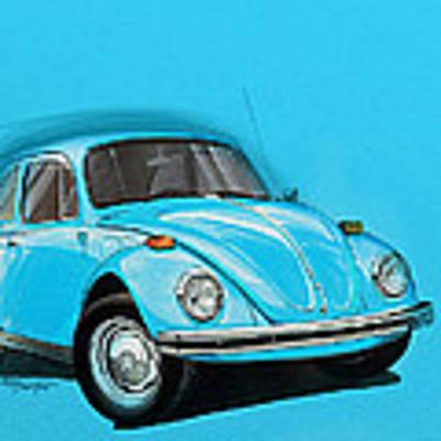 Volkswagen Beetle Vw Blue Art Print by Etienne Carignan