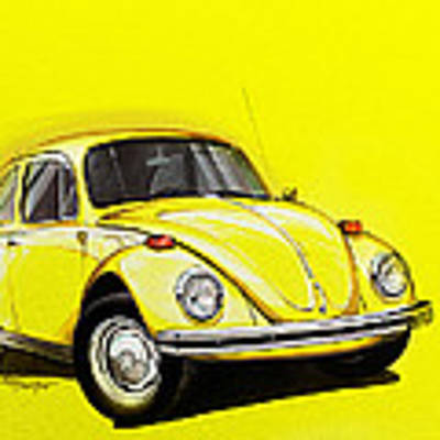 Volkswagen Beetle Vw Yellow Art Print