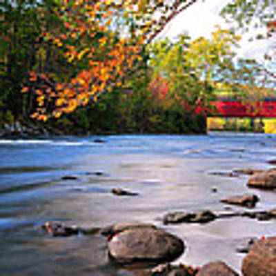West Cornwall Covered Bridge- Autumn  Art Print by Expressive Landscapes Fine Art Photography by Thom