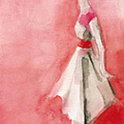 White Dress With Red Belt Fashion Illustration Art Print Art Print by Beverly Brown