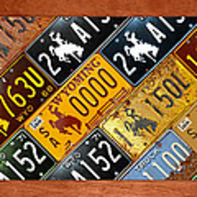 Wyoming State License Plate Map Art Print by Design Turnpike