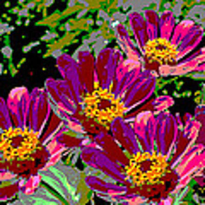 Zinnias II Florida Contemporayary Digital Art Art Print by G Linsenmayer