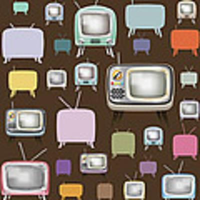 retro TV pattern  Art Print by Setsiri Silapasuwanchai
