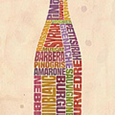 Burgundy Wine Word Bottle Art Print