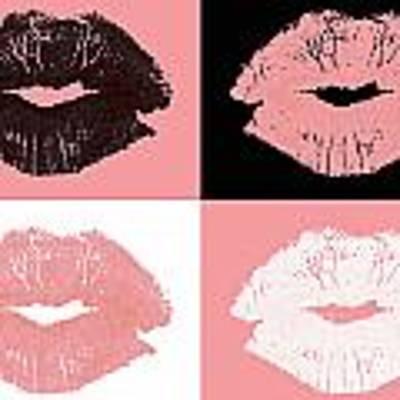 Graphic Lipstick Kisses Art Print