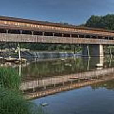 Harpersfield Road Bridge Reflection Art Print by At Lands End Photography
