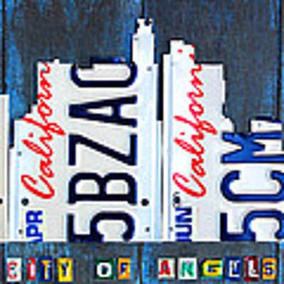 Los Angeles Skyline License Plate Art Art Print
