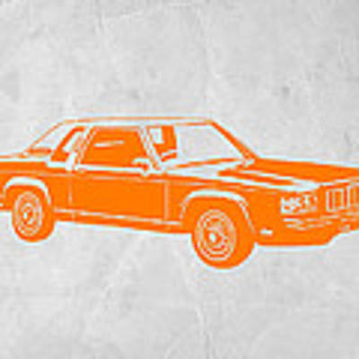 Orange Car Art Print by Naxart Studio