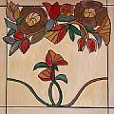 Red Flower Pane Art Print by Cynthia Amaral