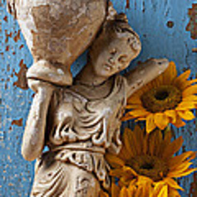 Statue Of Woman With Sunflowers Art Print by Garry Gay