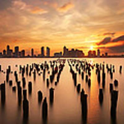 Sunset Over The Hudson River Art Print by Larry Marshall