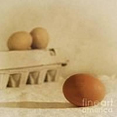 Three Eggs And A Egg Box Art Print