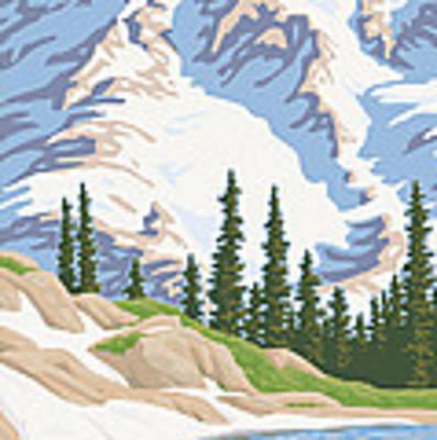 Vintage Mount Rainier Travel Poster Art Print by Mitch Frey