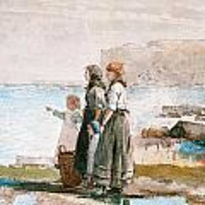 Waiting For The Return Of The Fishing Fleets Art Print