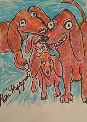 Dachshund Art Drawing -         Dachshund Family by Geraldine Myszenski