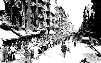 Photograph - 1902 - New York City's Lower East Side - Pushcarts And Horsecarts On Market Day by Merton Allen