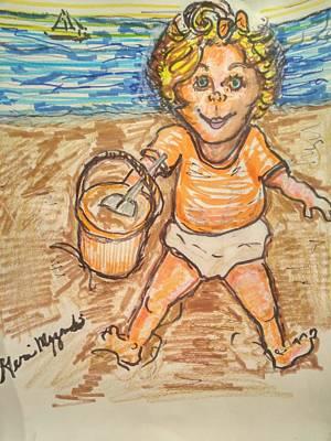 Playing In The Sand Art Print by Geraldine Myszenski