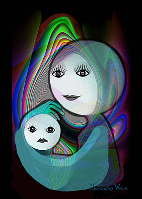 Painting -  044 - Full Moon  Mother And Child   by Irmgard Schoendorf Welch