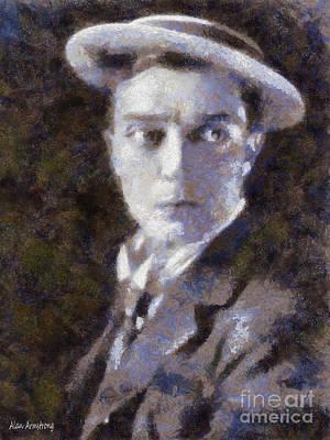 Keaton Digital Art - # 1 Buster Keaton Portrait by Alan Armstrong