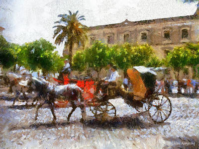 Andalusian Digital Art - # 11 Andalusian Horses And Handlers by Alan Armstrong