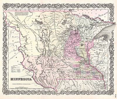 Painting -  1855 Map Of Minnesota by Celestial Images