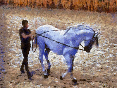 Andalusian Digital Art - # 2 Andalusian Horses And Handlers by Alan Armstrong