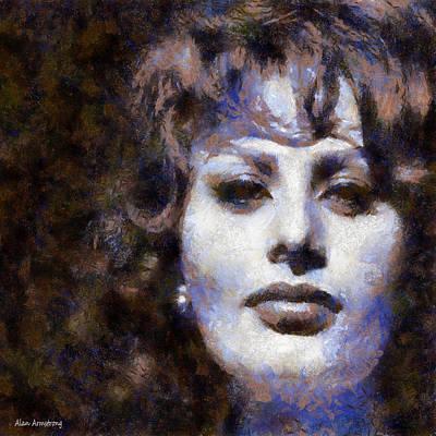 Italian Actress Digital Art - # 2 Sophia Loren Portrait by Alan Armstrong