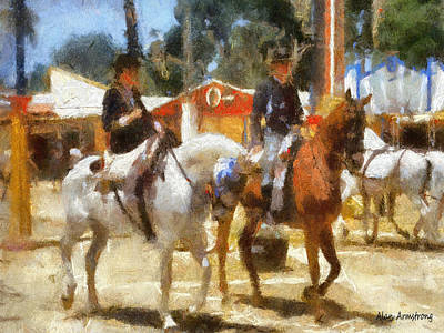 Andalusian Digital Art - # 6 Andalusian Horses And Handlers by Alan Armstrong