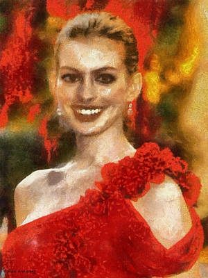 Actress Digital Art - # 7 Anne Hathaway Portrait by Alan Armstrong