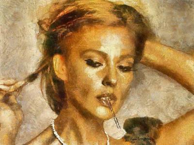 Italian Actress Digital Art - # 7 Monica Bellucci Portrait by Alan Armstrong