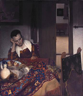 Painting -  A Girl Asleep by Johannes Vermeer