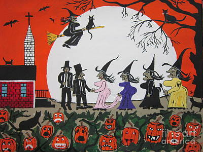 Painting -  A Halloween Wedding by Jeffrey Koss