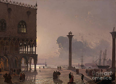 A Moonlit View Of The Piazza San Marco Art Print by Celestial Images