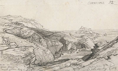 Landscape Drawing - A Page From A Cornish Sketchbook - Cornwall 32  by Samuel Palmer
