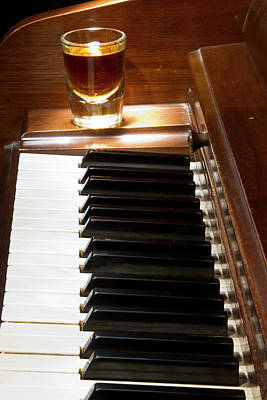 Photograph -  A Shot Of Bourbon Whiskey And The Black And White Piano Ivory K by James BO  Insogna