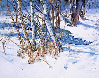 Snowscape Painting -  A Snowy Knoll by June Conte  Pryor